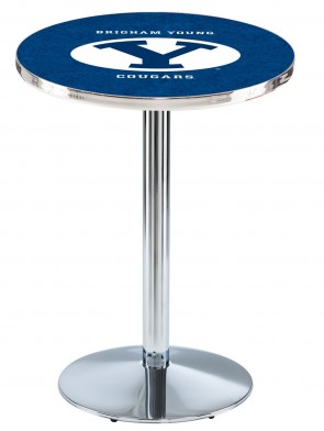 Brigham Young Chrome L214 Logo Pub Table