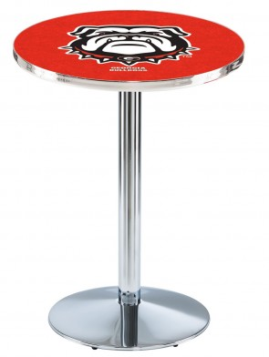 Georgia Chrome L214 Bulldog Logo Pub Table