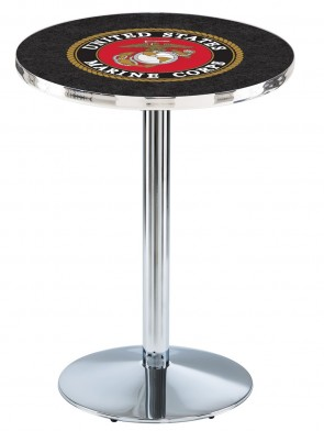 US Marine Corps Chrome L214 Logo Pub Table