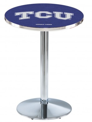 Texas Christian Chrome L214 Logo Pub Table
