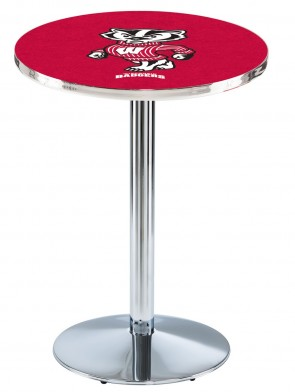 Wisconsin Chrome L214 Bucky Logo Pub Table