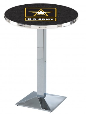 US Army Chrome L217 Logo Pub Table
