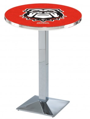 Georgia Chrome L217 Bulldog Logo Pub Table