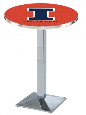 Illinois Chrome L217 Logo Pub Table