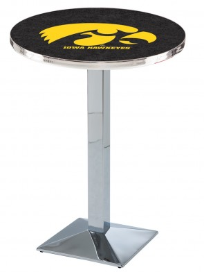Iowa Chrome L217 Logo Pub Table