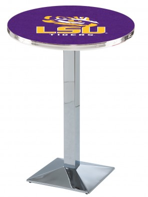 LSU Chrome L217 Logo Pub Table