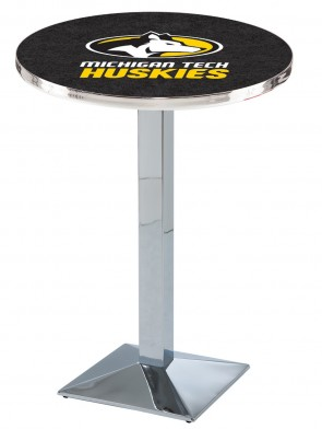 Michigan Tech Chrome L217 Logo Pub Table