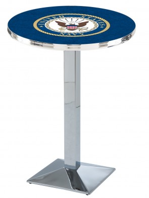 US Navy Chrome L217 Logo Pub Table