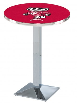 Wisconsin Chrome L217 Bucky Logo Pub Table