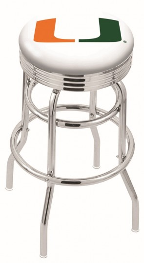 L7C3C University of Miami Logo Bar Stool