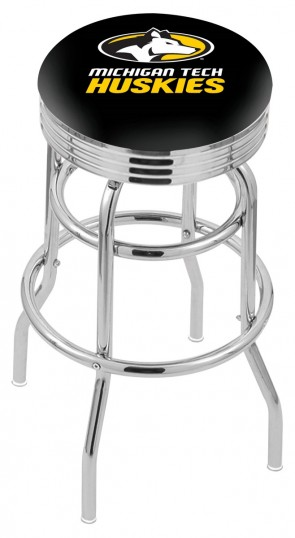L7C3C Michigan Tech Logo Bar Stool