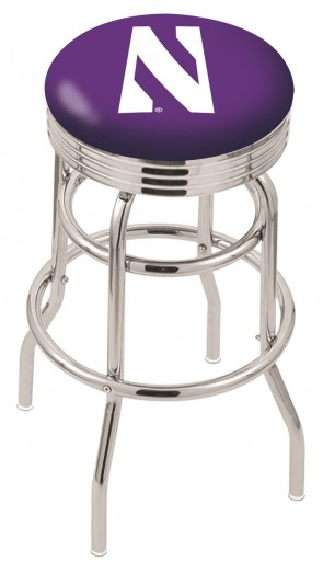 L7C3C Northwestern University Logo Bar Stool