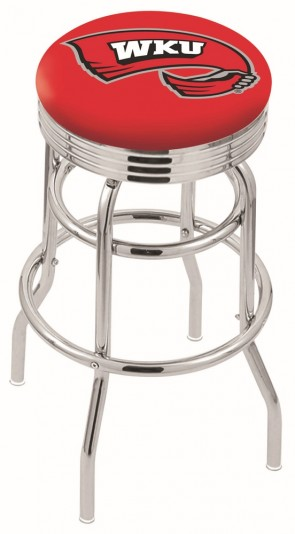 L7C3C Western Kentucky University Logo Bar Stool