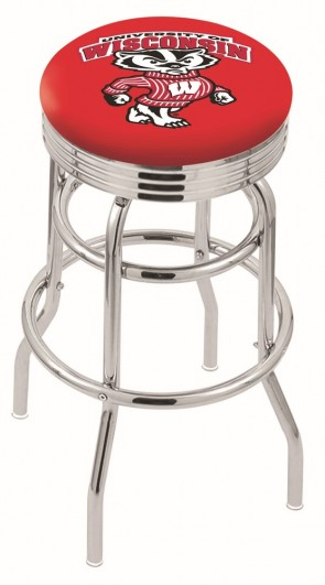 L7C3C University of Wisconsin - Bucky Logo Bar Stool