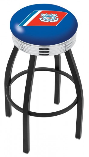 L8B3C US Coast Guard Logo Bar Stool