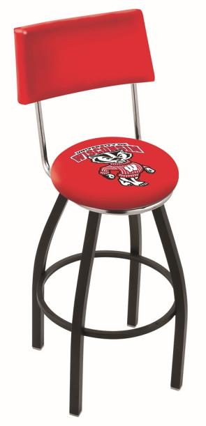 L8B4 University of Wisconsin - Bucky Logo Bar Stool