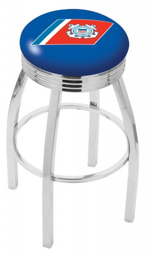 L8C3C US Coast Guard Logo Bar Stool