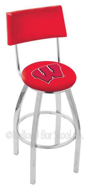 L8C4 University of Wisconsin - W Block Logo Bar Stool