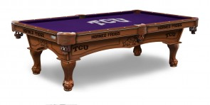 Texas Christian Billiard Table With Logo Cloth