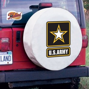 US Army Logo Tire Cover - White