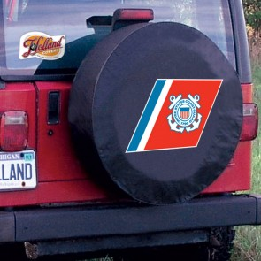 US Coast Guard Logo Tire Cover - Black