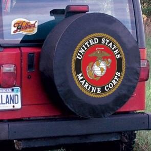 US Marine Corps Logo Tire Cover - Black