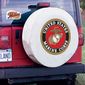 US Marine Corps Logo Tire Cover - White
