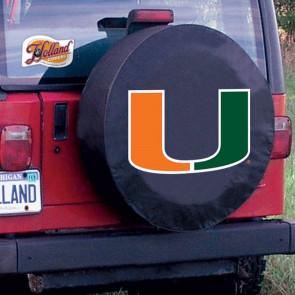 University of Miami Logo Tire Cover - Black