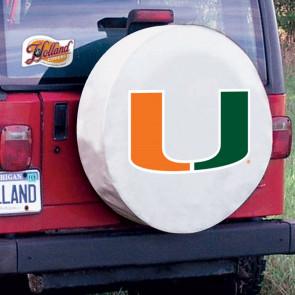 University of Miami Logo Tire Cover - White