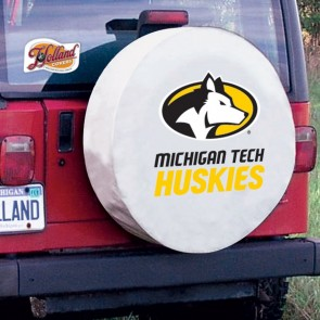 Michigan Tech Logo Tire Cover - White