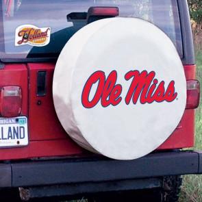 University of Mississippi Logo Tire Cover - White