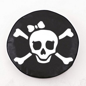 Pirate Girl (white on black) Logo Tire Cover
