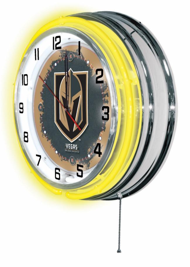 Holland Bar Stool Co Chrome Vegas Golden Knights 19 Neon Clock