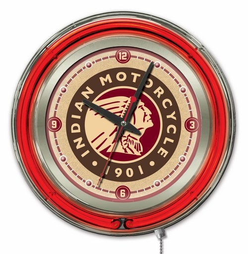 15 Inch Neon Indian Motorcycle Head Logo Clock